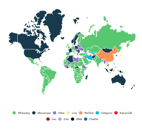 Most popular communication app by country map